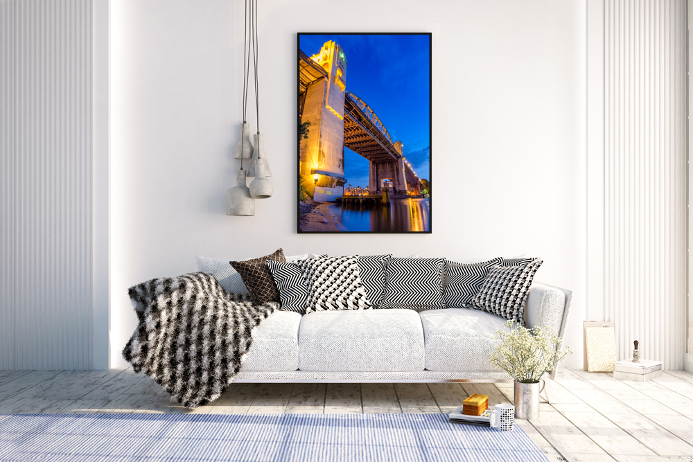 Burrard Bridge Print in Living Room
