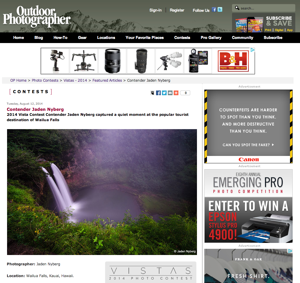 Outdoor Photographer Magazine feature