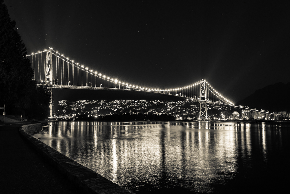Lions Gate Bridge Black and White