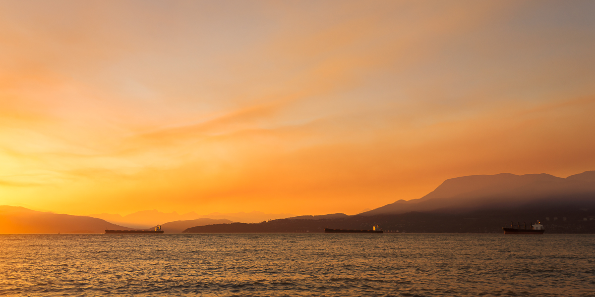 Freighters in Smoke at Locarno Beach